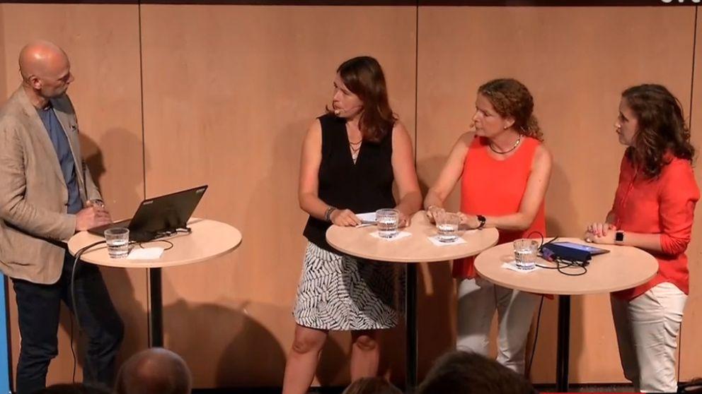 Jörgen Huitfeldt intervjuar Sofia Wadensjö Karén, vd UR, Cilla Benkö, vd Sveriges Radio och Hanna Stjärne, vd SVT.