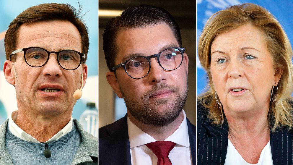 Från vänster: Moderaternas partiledare Ulf Kristersson, Jimmie Åkesson, SD:s partiledare, samt Liberalernas partisekreterare Maria Arnholm.
