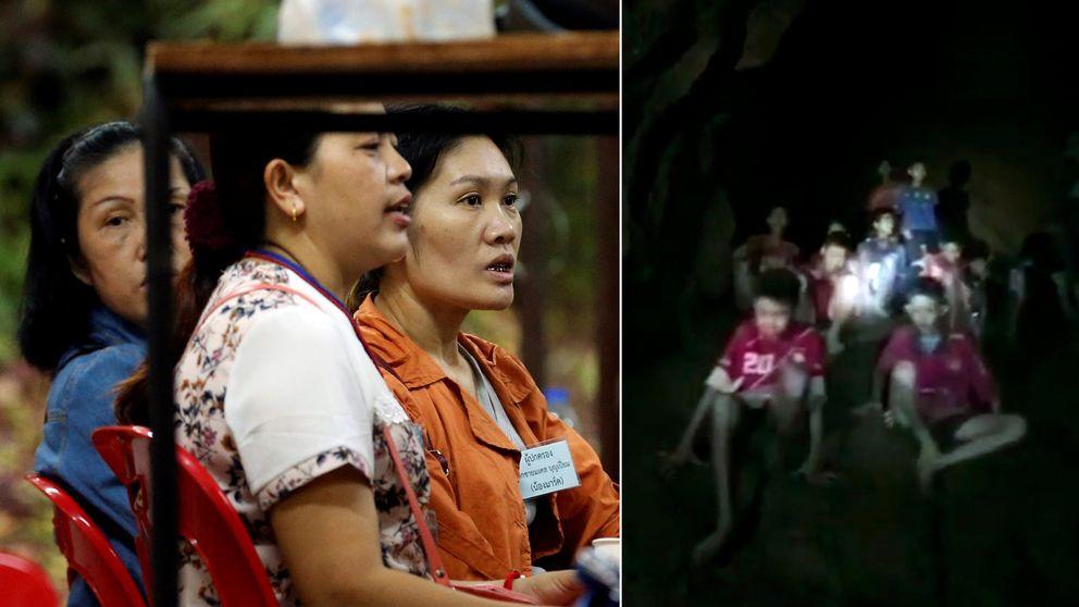 De thailändska pojkarna kan tvingas stanna kvar i gruvan i månader innan de kan räddas därifrån. Till vänster anhöriga som väntar på besked.