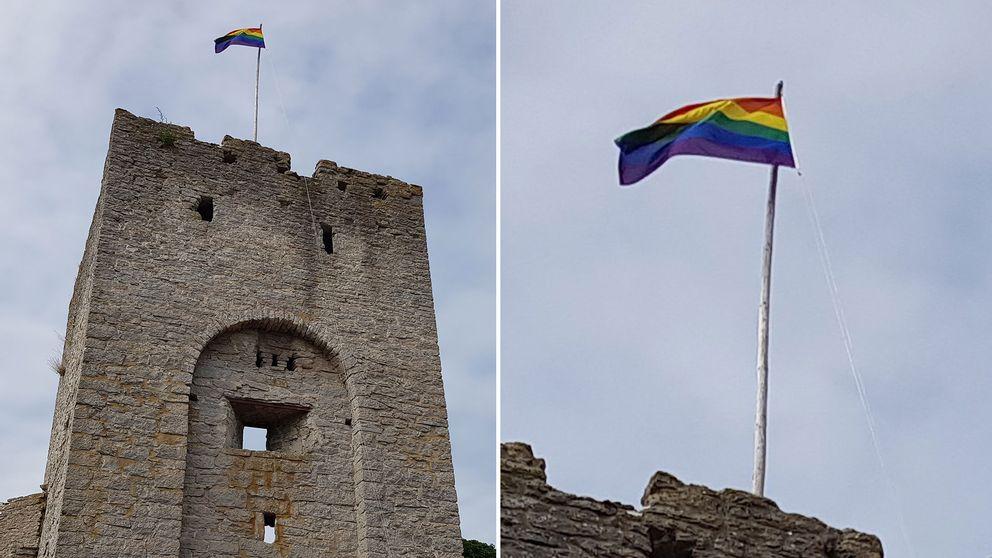 Prideflagga vid Norderport.
