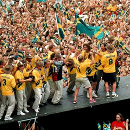 Svenska fotbollslandslaget 1994 i Rålambshovsparken i Stockholm.