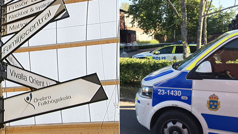 Till vänster en bild på olika skyltar med verksamheter i Vivalla, till höger en bil på två polisbilar efter dödsskjutningen i Vivalla.