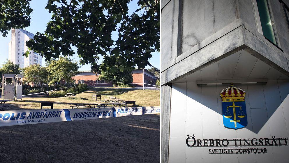 Till vänster en bild på polisavspärrningar i Vivalla efter skottlossning. Till höger en exteriörbild på Tingsrätten i Örebro.