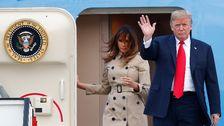 Melania och Donald Trump anländer till militärflygplatsen i belgiska Melsbroek.