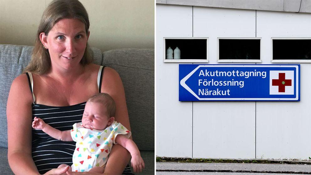 Mikaela med dottern Saga och en bild från Södertälje sjukhus.