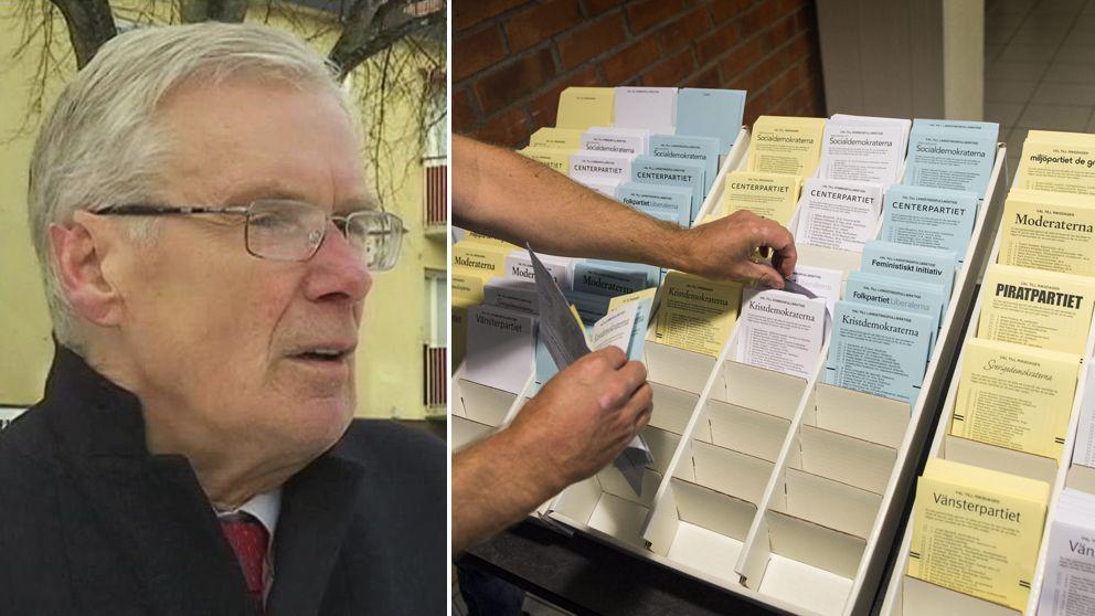 Kjell Forslund, ordförande för Sverigedemokraterna i Borlänge och en bild på valsedlar.