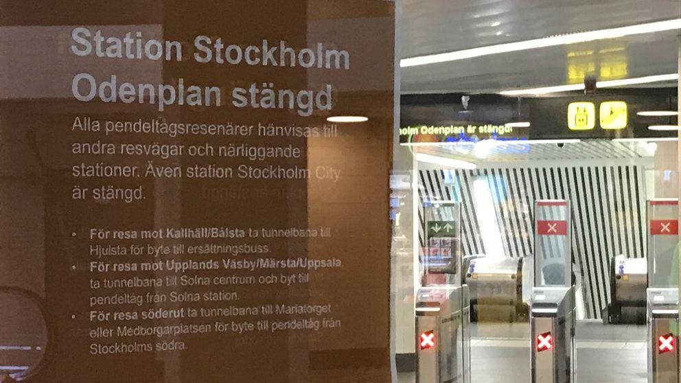 Inga pendeltåg stannar på stationerna Odenplan och Stockholm city