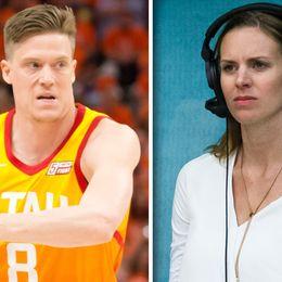 NBA-svensken Jonas Jerebko (vänster) och SVT:s basketexpert Elisabeth Egnell (höger).