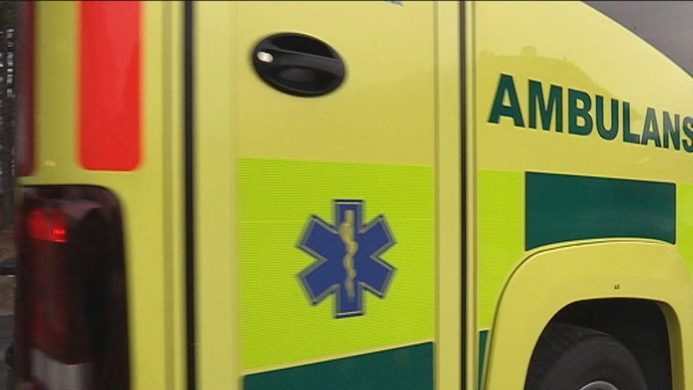 Närbild på del av ambulans
