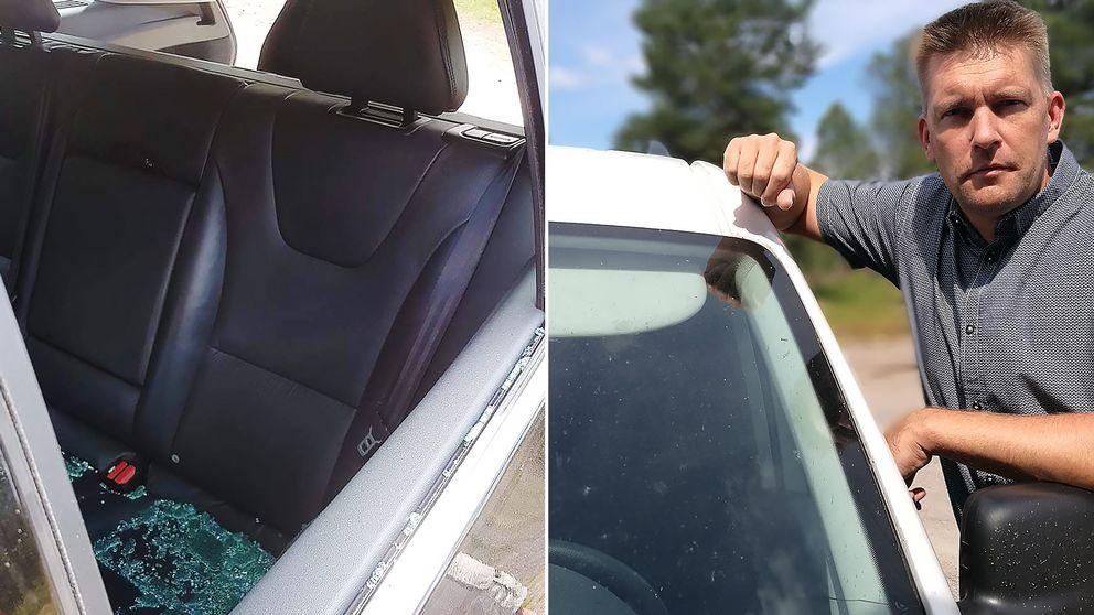 Skador på bil från vägbeläggning.