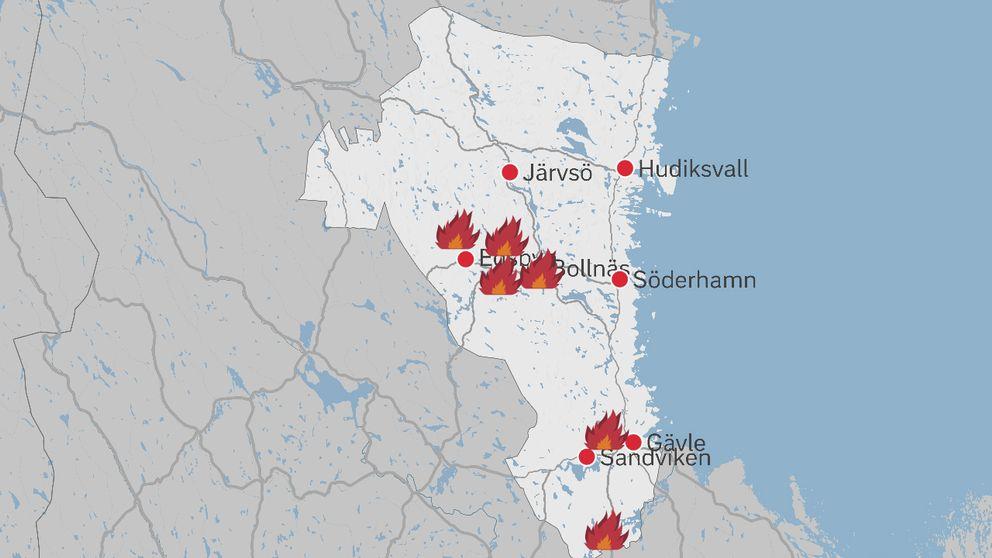 blixtnedslag karta Många brandlarm i Gävleborgs län – flera blixtnedslag | SVT Nyheter blixtnedslag karta
