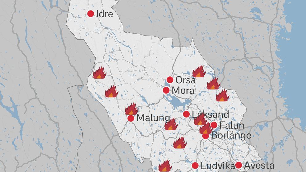 furudal dalarna karta Stort antal larm om skogsbränder i Dalarnas län | SVT Nyheter furudal dalarna karta