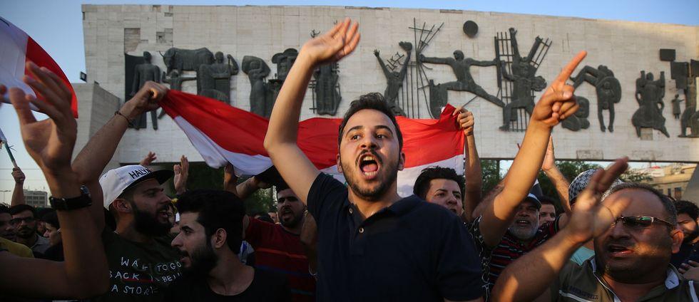 Demonstranter i Iraks huvudstad Bagdad.