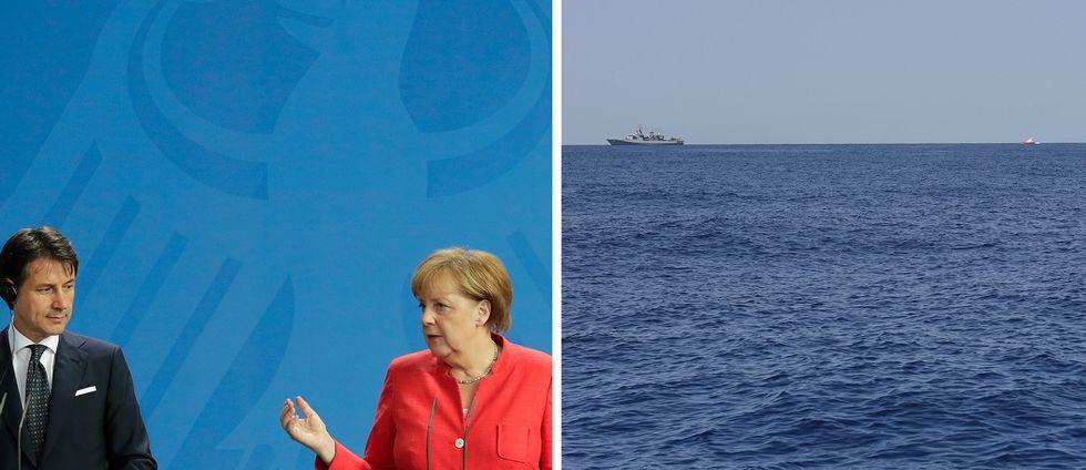 Italiens premiärminister Giuseppe Conte och Tysklands förbundskansler Angela Merkel samt en bild på en båt Medelhavet