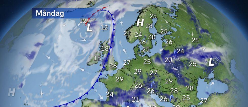 Fortsatt varmast i sydost med temperaturen lokalt upp mot 40 grader. Lågtrycken över Europa medför en hel del regn- och åskväder. Kallfronten över Brittiska öarna rör sig vidare mot Skandinavien under veckan.