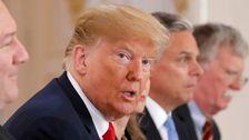 Donald Trump strax före toppmötet med Putin på måndagen.