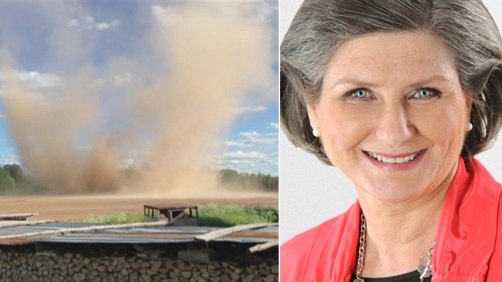 Stoftvirveln sida vid sida med SVT:s meteorolog Helen Tronstad.