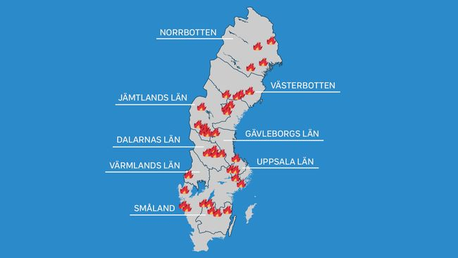 Här är bränderna som härjar i Sverige
