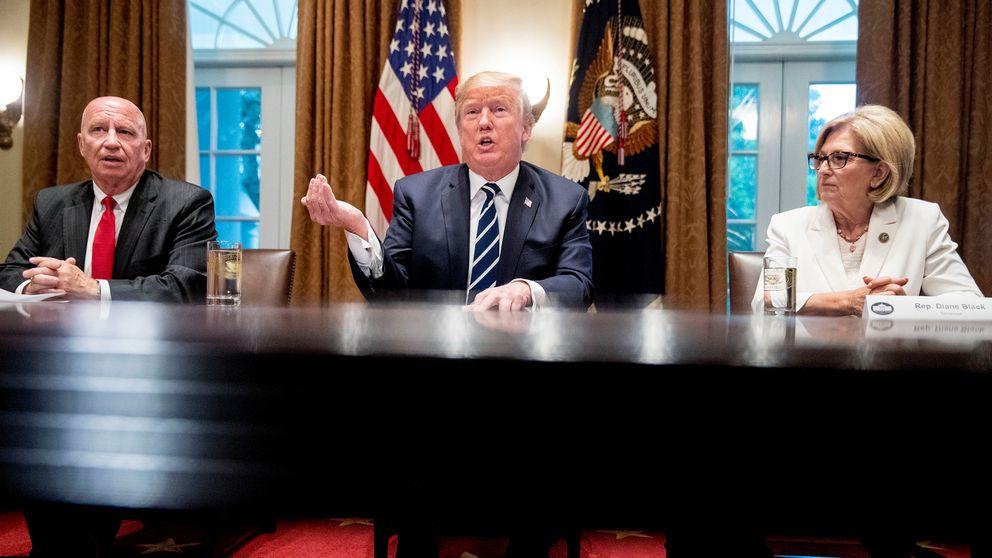 Donald Trump när han mötte medierna i Vita Huset tillsammans med republikanerna Kevin Brady och Diane Black.