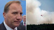 Statsminister Stefan Löfven samt en bild från en skogsbrand
