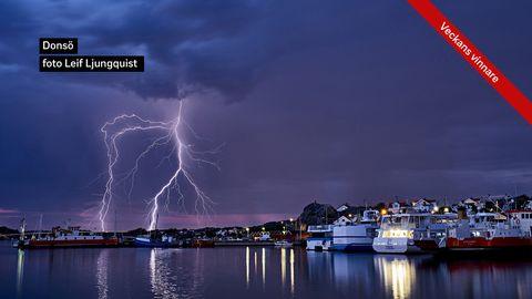 Ett åskväder drog fram över Donsö i Göteborgs södra skärgård
