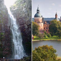 Gula cyklar vid vattnet, ett forsande vattenfall och ett slott vid vattnet omringat av träd.