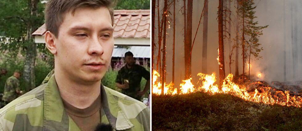 Jonathan Quanz från hemvärnet. Branden på bilden är tagen vid ett annat tillfälle i Kårböle.