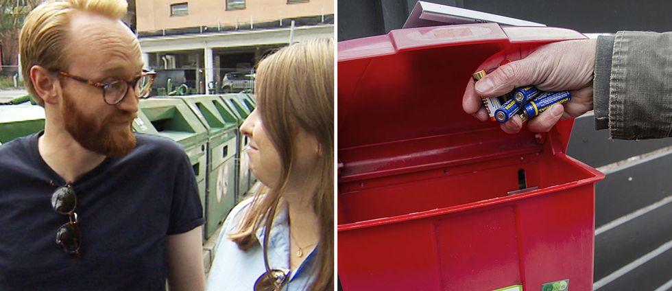 Patrik och Kajsa Söderberg och en hand som lägger i batterier i en återvinningslåda för batterier.