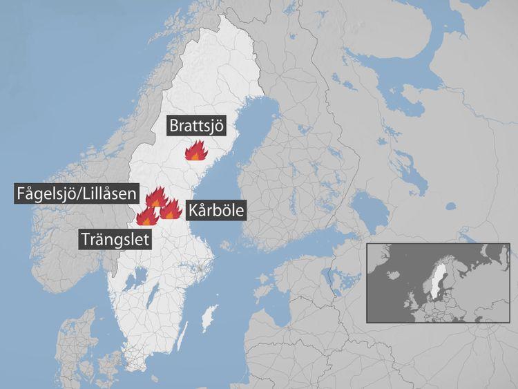 Karta över de fyra värsta bränderna i Sverige.