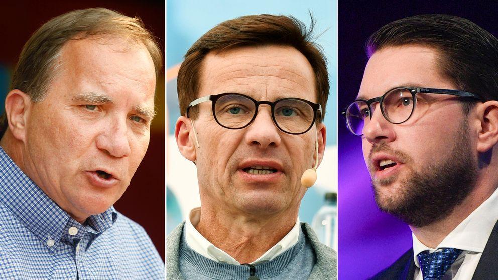 Stefan Löfven (S), Ulf Kristersson (M) och Jimmie Åkesson (SD).