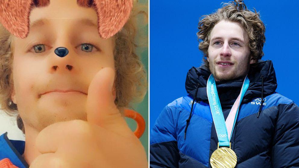 Peppe Femling på sjukhuset med splitbild från OS-guldet i Pyeongchang.