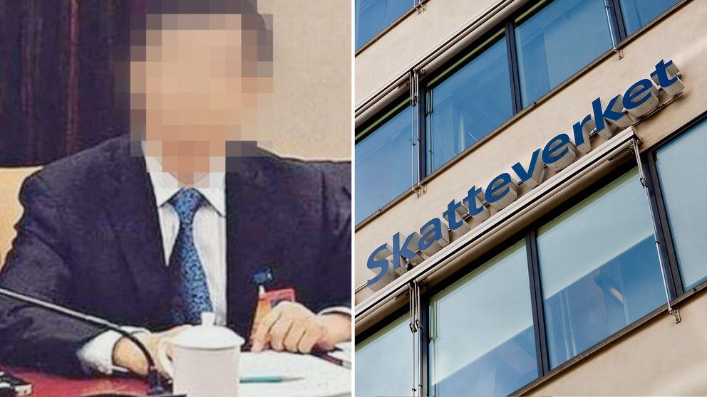 T.v den misstänkte mannen och t.h Skatteverkets kontor i Stockholm.