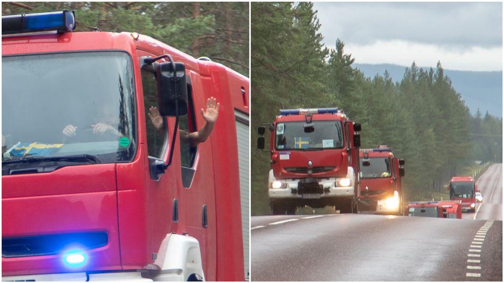 Brandmännen vinkade och blinkade glatt mot trafikanterna de mötte längs vägen, klicka på bilden för att se mer av konvojen.