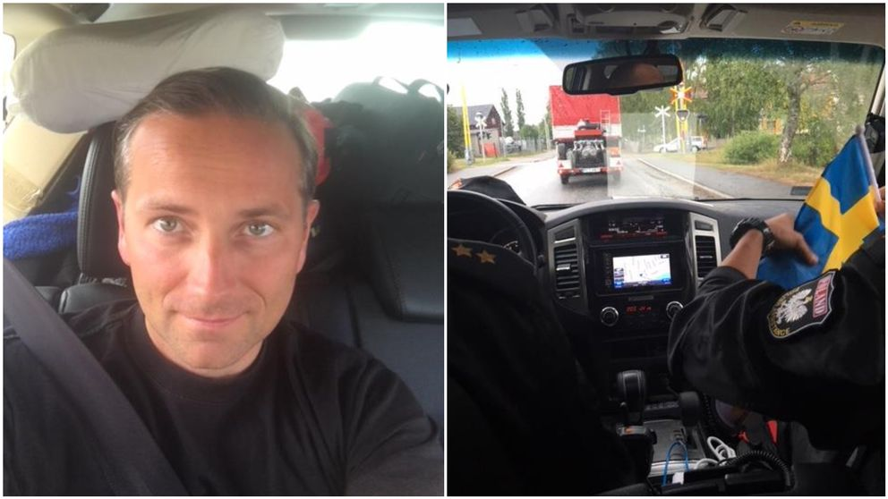 Michael Langner i en polsk brandbil på väg genom Sverige