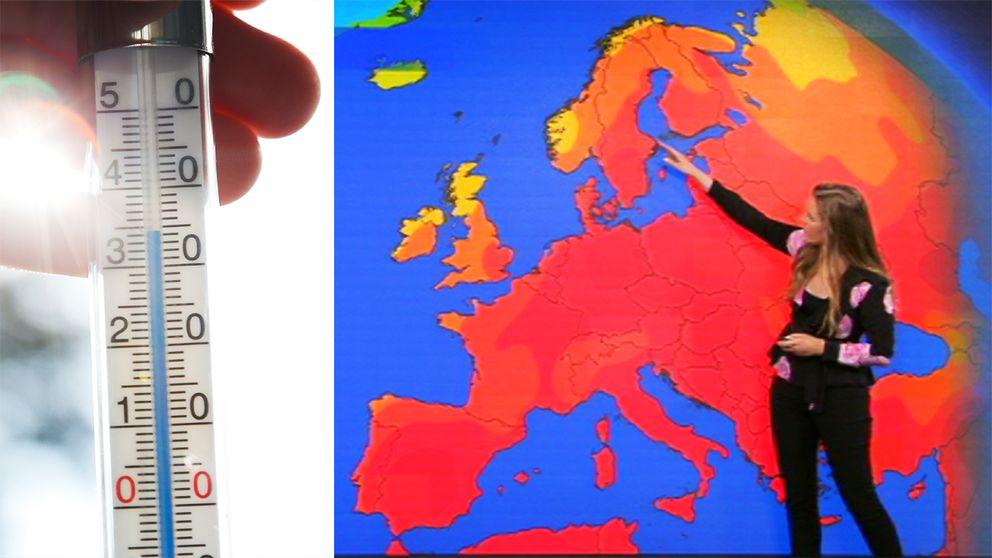 Termometer och väderkarta med SVT-meteorolog
