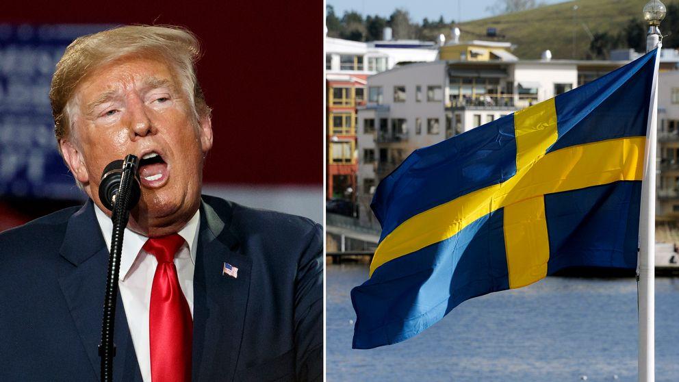 Donald Trump och en svensk flagga.