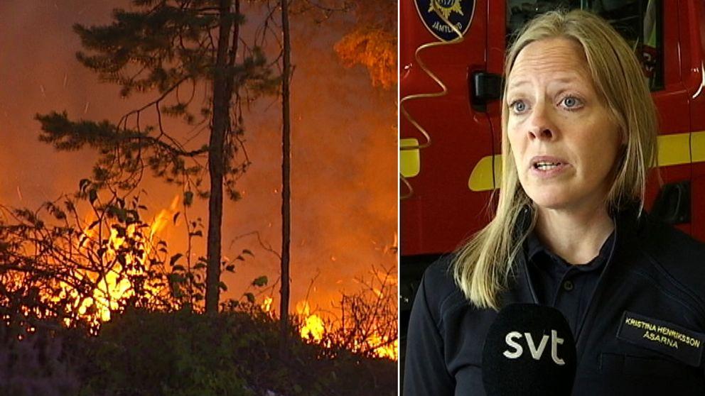 En skogsbrand till vänster i bild och en kvinna till höger