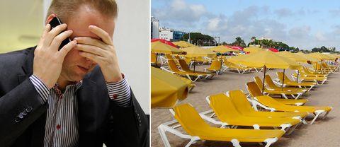 En stressad man på jobbet och tomma solstolar. Arkivbilder.