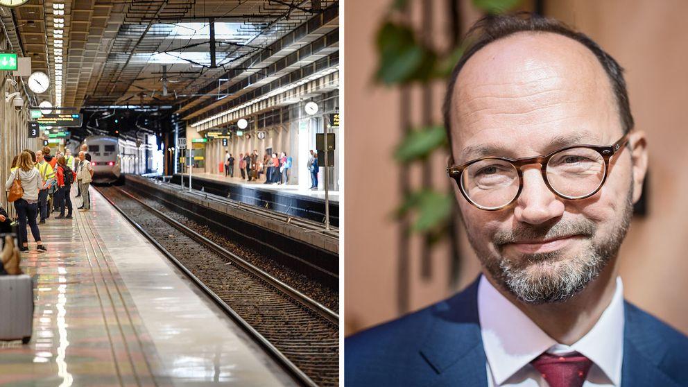 Folk väntar på ett tåg vid Getingbanan i Stockholm samt en bild på Tomas Eneroth