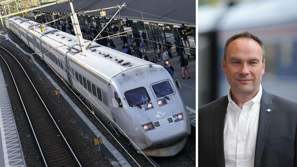 Ett x2000-tåg och SJ:s tillförordnade presschef Tobbe Lundell