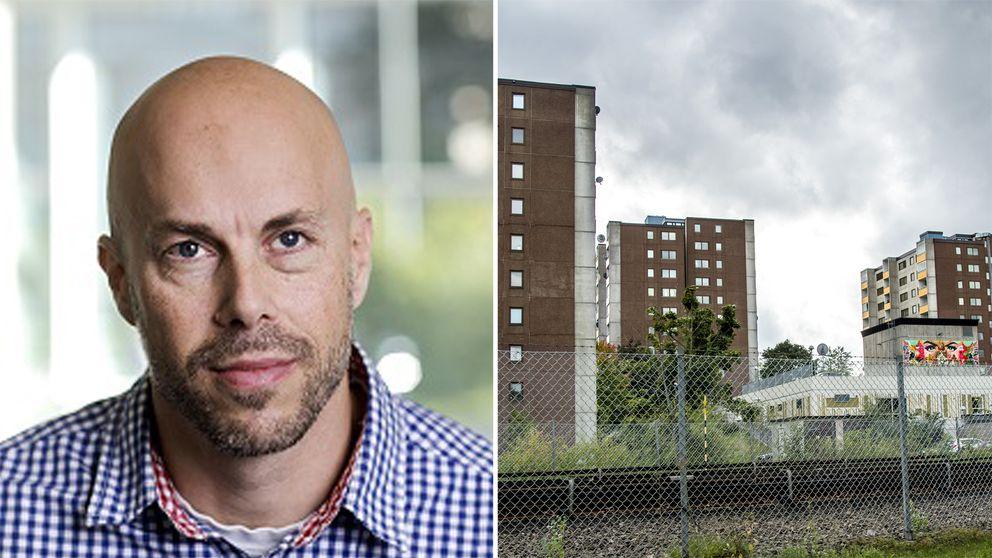 Foto på forskare Patrik Öhberg samt foto på husbyggnader och en tågräls i Fittja