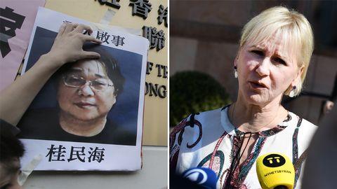 Bild på bokförläggaren Gui Minhai samt bild på utrikesminister Margot Wallström.