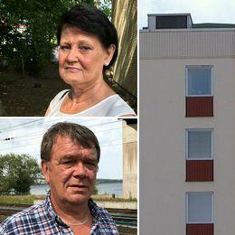 trippelbild: porträtt på kvinna och man samt ett flerfamiljshus