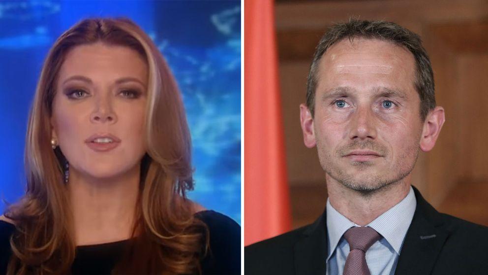 Danske finansministern Kristian Jensen är inte särskilt imponerad efter att ha sett Trish Reagans inslag om Danmark och Venezuela.