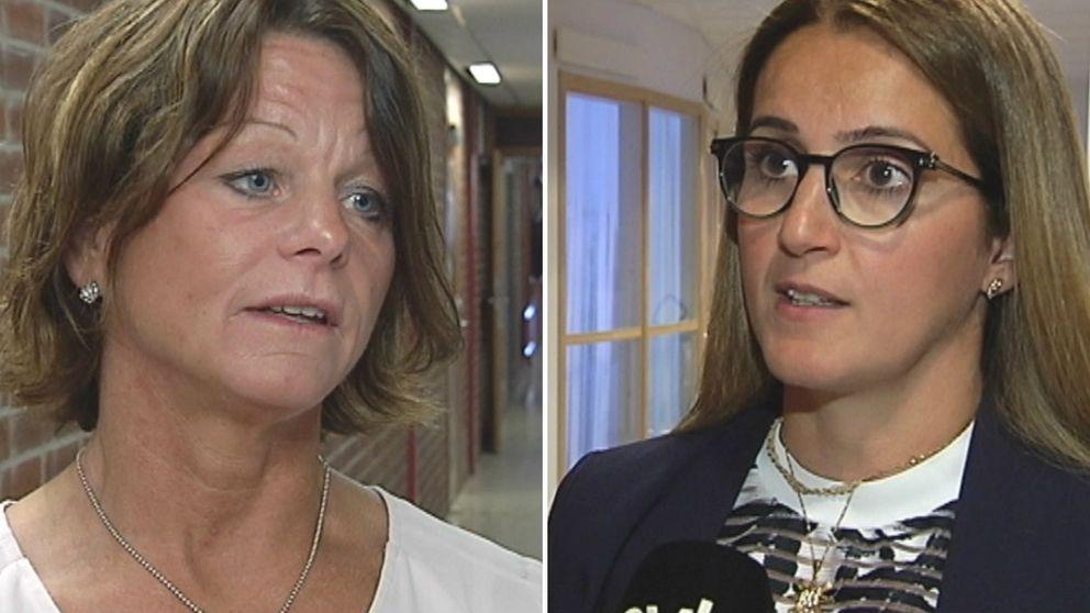 dubbelbild: porträtt på två kvinnor, varav den till höger bär glasögon