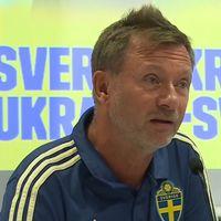 Förbundskapten Peter Gerhardsson presenterar truppen VM-kvaltruppen mot Ukraina och Danmark.