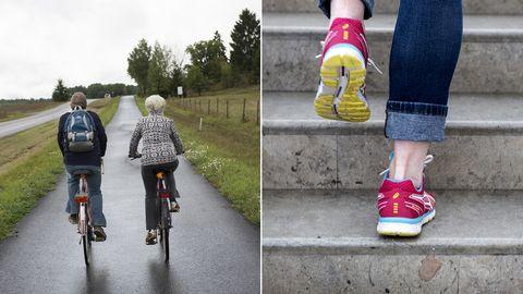 Delad bild: Först två personer som cyklar, samt en bild på en person som går upp för en trappa.