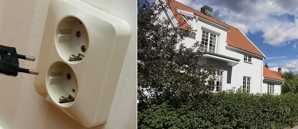 En stickkontakt vid ett eluttag, och till höger en villa.