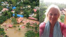 """""""Jag handlar förnödenheter och ser till att det kommer fram dit det ska"""", säger Sonja Dunkars, från Bromma, som avbröt semestern i Indien och började hjälpa till efter regnkatastrofen."""