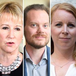 Från vänster: Margot Wallström (S), Martin Kinnunen (SD), Annie Lööf (C), Gustav Fridolin (MP) och Maria Malmer Stenergard (M).